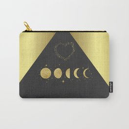 Faux Gold Moon Phases Gold Heart Carry-All Pouch