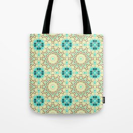 Colorful yellow turquoise ornament . Tote Bag