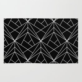 White Geometric Pattern on Black Background Rug
