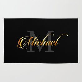 Name and initial of a boy Michael in golden letters Rug