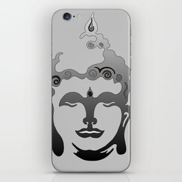 Buddha Head grey black Design iPhone Skin