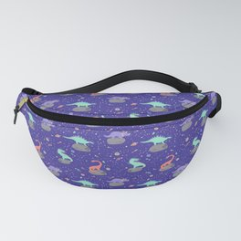 Dinosaurs Floating on Asteroids - Purple Fanny Pack