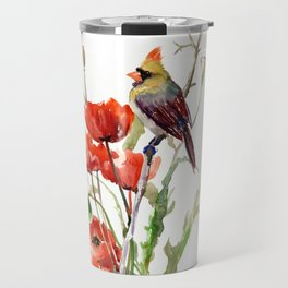 Cardinal And Poppy Flowers Travel Mug