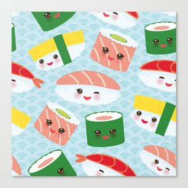 pattern Kawaii funny sushi rolls set with pink cheeks and big eyes, emoji Canvas Print