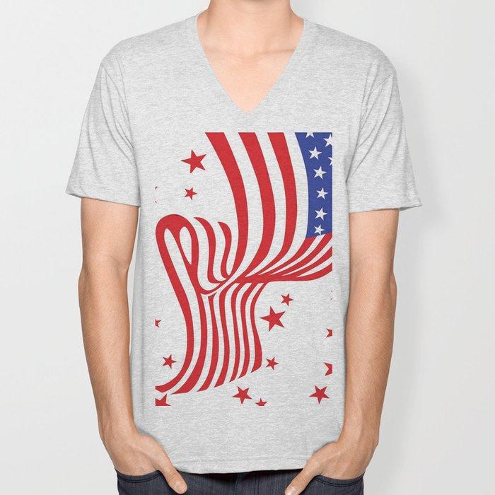 AMERICAN FLAG  & RED STARS JULY 4TH ART Unisex V-Neck