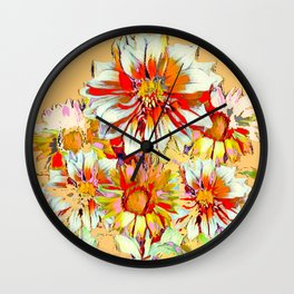 WHITE-RED FLOWER STILL LIFE CREAMY PASTELS Wall Clock
