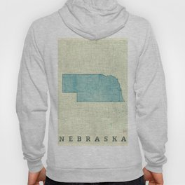 Nebraska State Map Blue Vintage Hoody