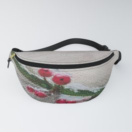 Robin and red berries Fanny Pack