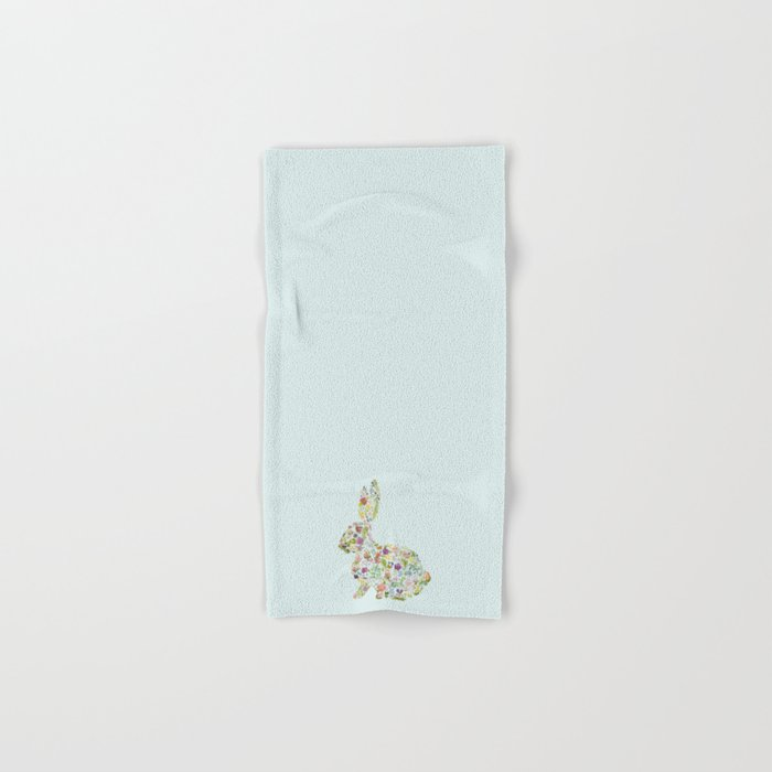 Spring Flowers Bunny on Blue Hand & Bath Towel