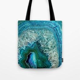 Aqua turquoise agate mineral gem stone - Beautiful Backdrop Tote Bag