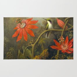 Hummingbird and Passionflowers Rug