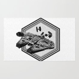 Millennium Falcon Art - StarWars Dot-work Pointillism Fan Art Rug