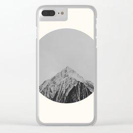 Mid Century Modern Round Circle Photo Grey Minimalist Monochrome Snow Mountain Peak Clear iPhone Case