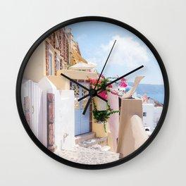 Charming Narrow Lane on Oia Santorini Greece Wall Clock