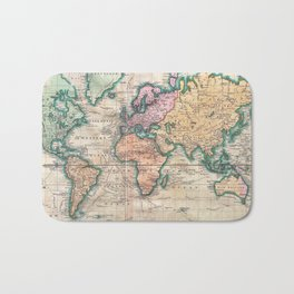 Vintage World Map 1801 Bath Mat