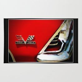 Chevy Classic Car Photography 396 Turbo Jet Fender 8x10 Cherry Red, Silver Rug