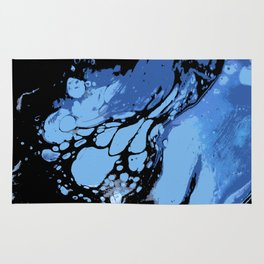 Blue, Black and White; Fluid Abstract 49 Rug