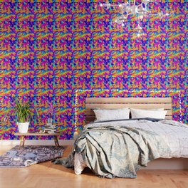 pink purple blue orange and yellow geometric painting abstract background Wallpaper