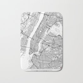 New York City Neutral Map Art Print Bath Mat
