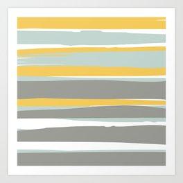 Stripe Abstract, Sun and Beach, Yellow, Pale, Aqua Blue and Gray Art Print