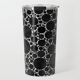 Modern Black and WHITE Textured Bubble Design Travel Mug