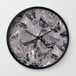 Dragonflies, Butterflies and Moths With Plants on Grey Wall Clock