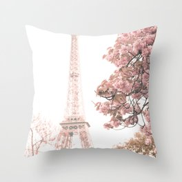 Paris nursery, Blush, Eiffel tower, cherry blossoms Throw Pillow
