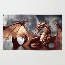 Mystical Dragon and Moon Fantasy Design Rug
