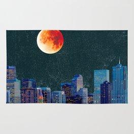 Blood Moon over Denver Colorado Skyline Rug