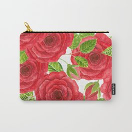 Red watercolor roses with leaves and buds pattern Carry-All Pouch