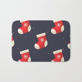 Red Christmas Stocking Pattern Bath Mat