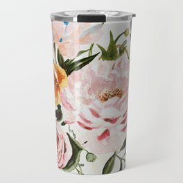 Loose Peonies & Poppies Floral Bouquet Travel Mug