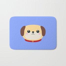 Cute puppy Dog with red collar Bath Mat