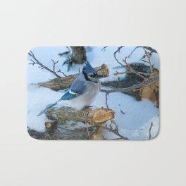 Blue Jay on a White Cedar Log Bath Mat