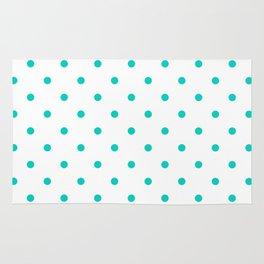 Aqua Small Polka Dots Pattern Rug