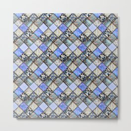 Faux Patchwork Quilting - Blues Metal Print