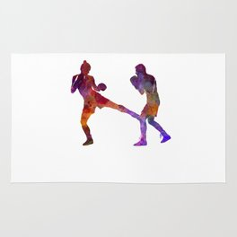 Woman boxer boxing man kickboxing silhouette isolated 02 Rug