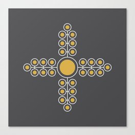 Minimalist Flowers Cross Pattern (Spicy Mustard, Charcoal Black) Canvas Print
