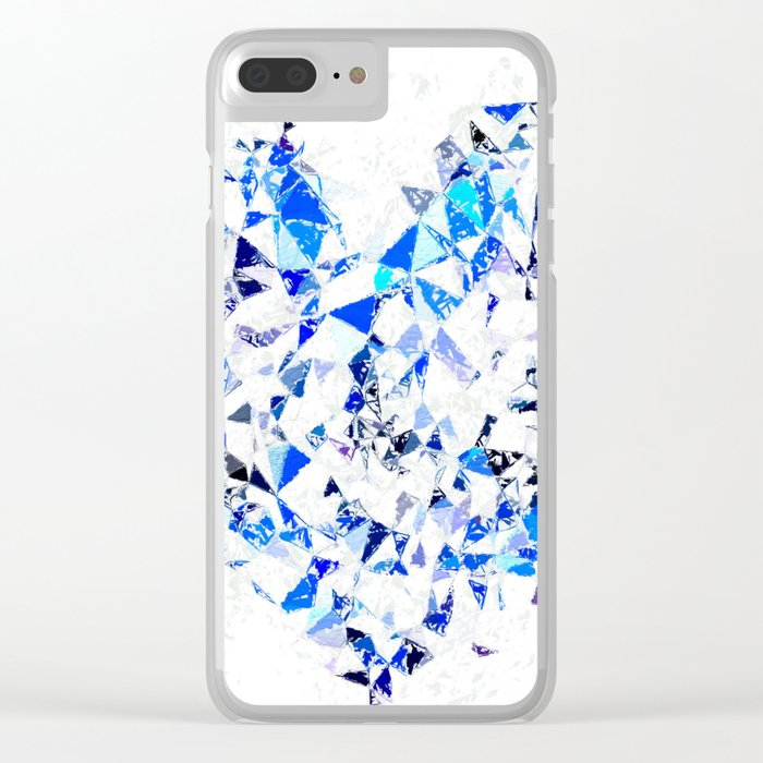 blue heart shape abstract with white abstract background Clear iPhone Case