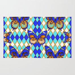 ARGYLE ABSTRACTED  BROWN SPICE  MONARCHS BUTTERFLY & BLUE-WHITE Rug