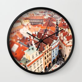 Red Roof Prague Wall Clock