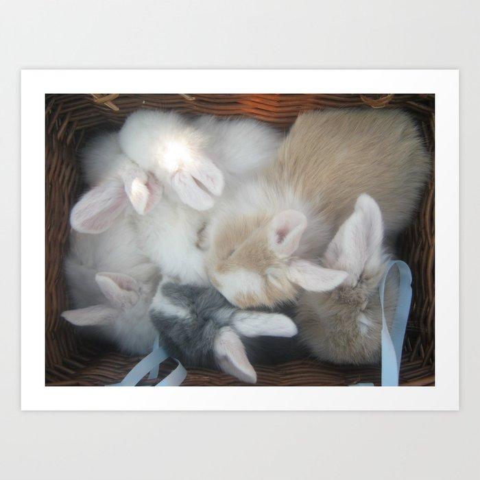bunnies in a basket  Art Print
