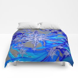 MODERN ROYAL BLUE WINTER SNOWFLAKES GREY ART Comforters
