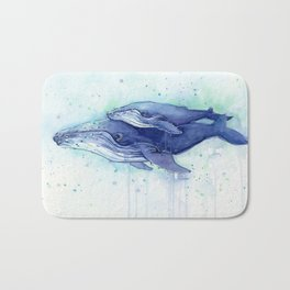 Humpback Whale Watercolor Mom and Baby Painting Whales Sea Creatures Bath Mat