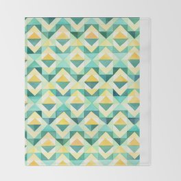 Quilted Diamond // Geometric Watercolor Pattern Throw Blanket