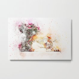 Cat sleeping art abstract Metal Print