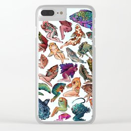 Reverse Mermaids Clear iPhone Case