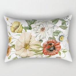 Wildflower Bouquet on White Rectangular Pillow