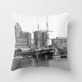 A US Frigate Ship in Baltimore, MD Throw Pillow