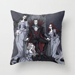 Dracula And His Brides Throw Pillow
